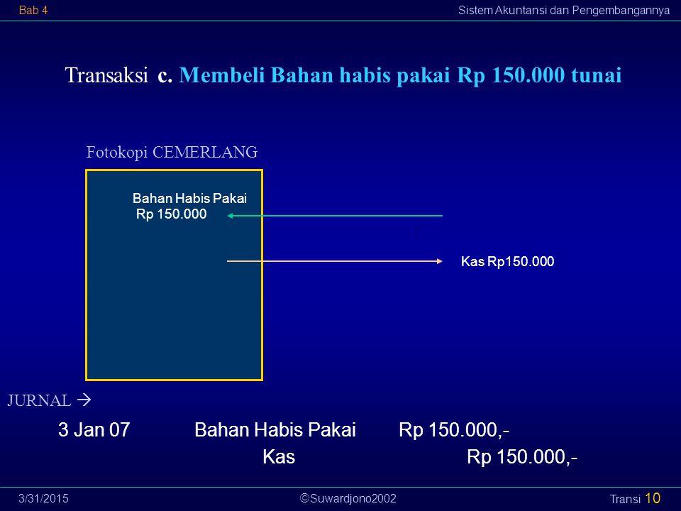  Suwardjono2002 Bab 4Sistem Akuntansi dan Pengembangannya 3/31/2015 Transi 10 Transaksi c. Membeli Bahan habis pakai Rp 150.000 tunai Fotokopi CEMERL