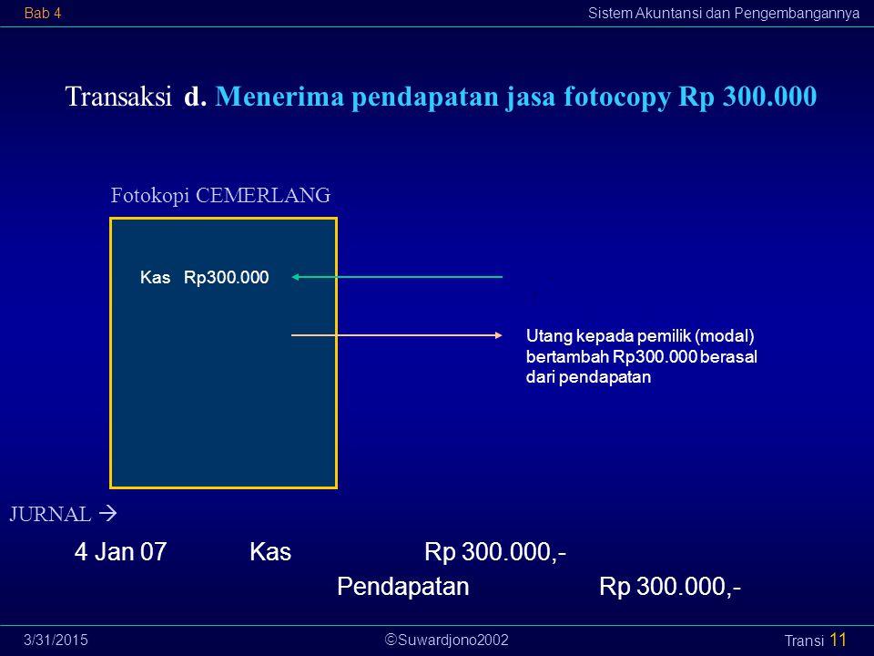  Suwardjono2002 Bab 4Sistem Akuntansi dan Pengembangannya 3/31/2015 Transi 11 Transaksi d.