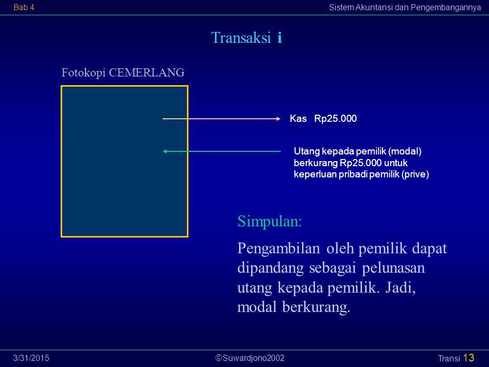  Suwardjono2002 Bab 4Sistem Akuntansi dan Pengembangannya 3/31/2015 Transi 13 Transaksi i Fotokopi CEMERLANG Utang kepada pemilik (modal) berkurang R