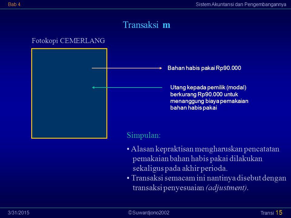  Suwardjono2002 Bab 4Sistem Akuntansi dan Pengembangannya 3/31/2015 Transi 15 Transaksi m Fotokopi CEMERLANG Utang kepada pemilik (modal) berkurang R
