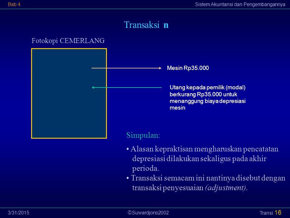  Suwardjono2002 Bab 4Sistem Akuntansi dan Pengembangannya 3/31/2015 Transi 16 Transaksi n Fotokopi CEMERLANG Utang kepada pemilik (modal) berkurang R