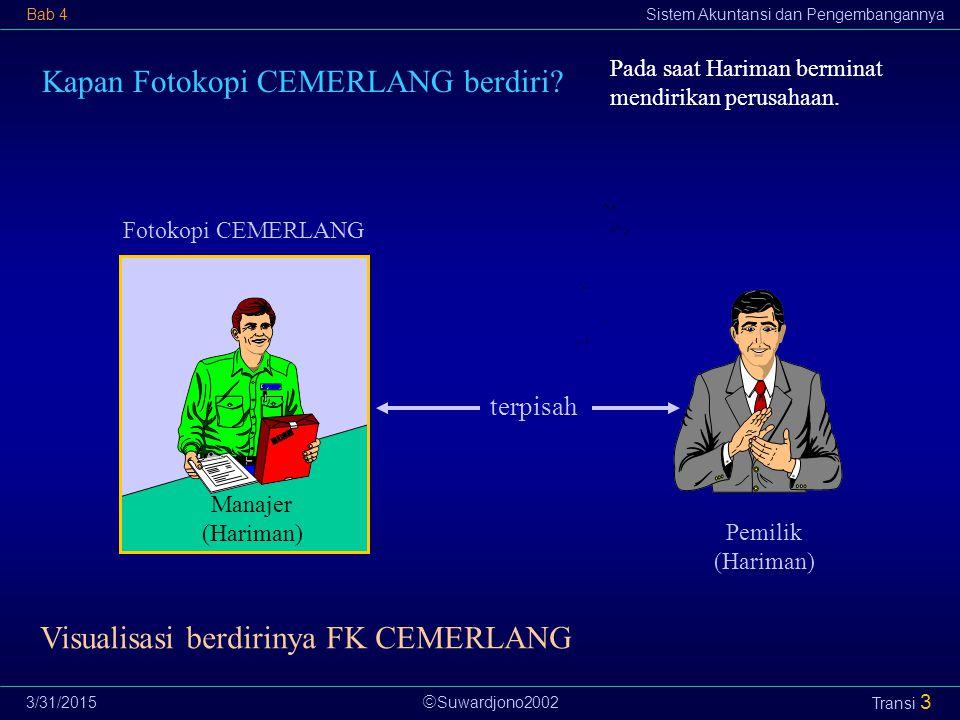  Suwardjono2002 Bab 4Sistem Akuntansi dan Pengembangannya 3/31/2015 Transi 3 Fotokopi CEMERLANG Pemilik (Hariman) terpisah Kapan Fotokopi CEMERLANG berdiri.