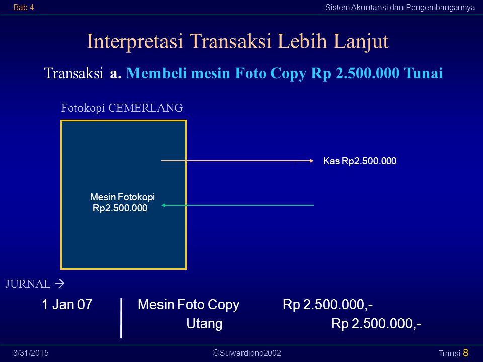  Suwardjono2002 Bab 4Sistem Akuntansi dan Pengembangannya 3/31/2015 Transi 8 Transaksi a. Membeli mesin Foto Copy Rp 2.500.000 Tunai Fotokopi CEMERLA