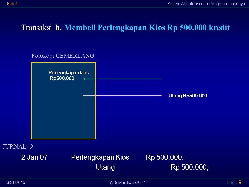  Suwardjono2002 Bab 4Sistem Akuntansi dan Pengembangannya 3/31/2015 Transi 9 Transaksi b. Membeli Perlengkapan Kios Rp 500.000 kredit Fotokopi CEMERL