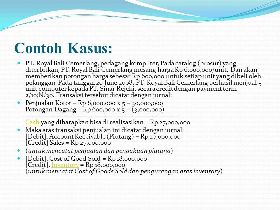 Contoh Kasus: PT. Royal Bali Cemerlang, pedagang komputer, Pada catalog (brosur) yang diterbitkan, PT. Royal Bali Cemerlang mesang harga Rp 6,000,000/
