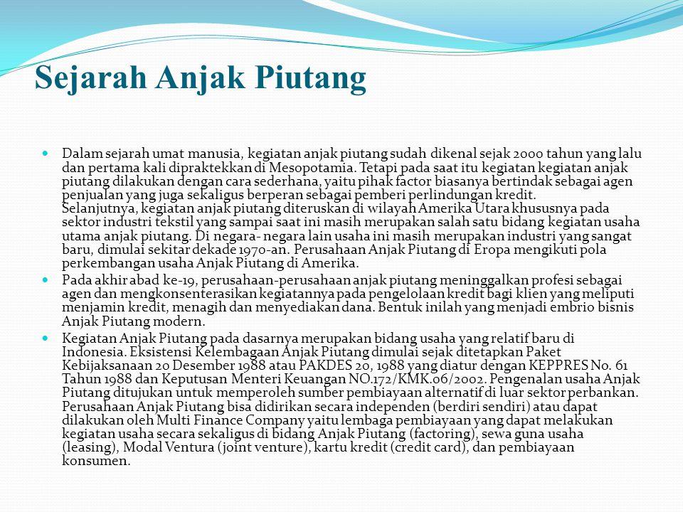 Sejarah Anjak Piutang Dalam sejarah umat manusia, kegiatan anjak piutang sudah dikenal sejak 2000 tahun yang lalu dan pertama kali dipraktekkan di Mes