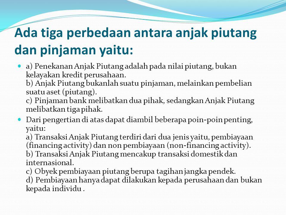 Ada tiga perbedaan antara anjak piutang dan pinjaman yaitu: a) Penekanan Anjak Piutang adalah pada nilai piutang, bukan kelayakan kredit perusahaan. b