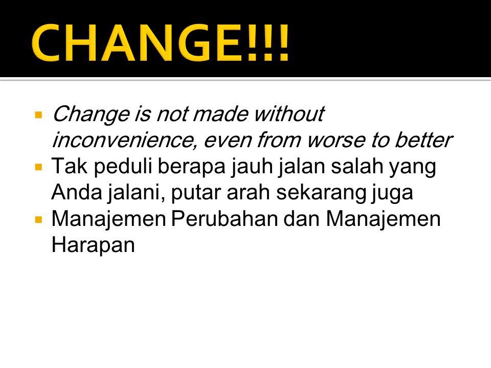  Change is not made without inconvenience, even from worse to better  Tak peduli berapa jauh jalan salah yang Anda jalani, putar arah sekarang juga