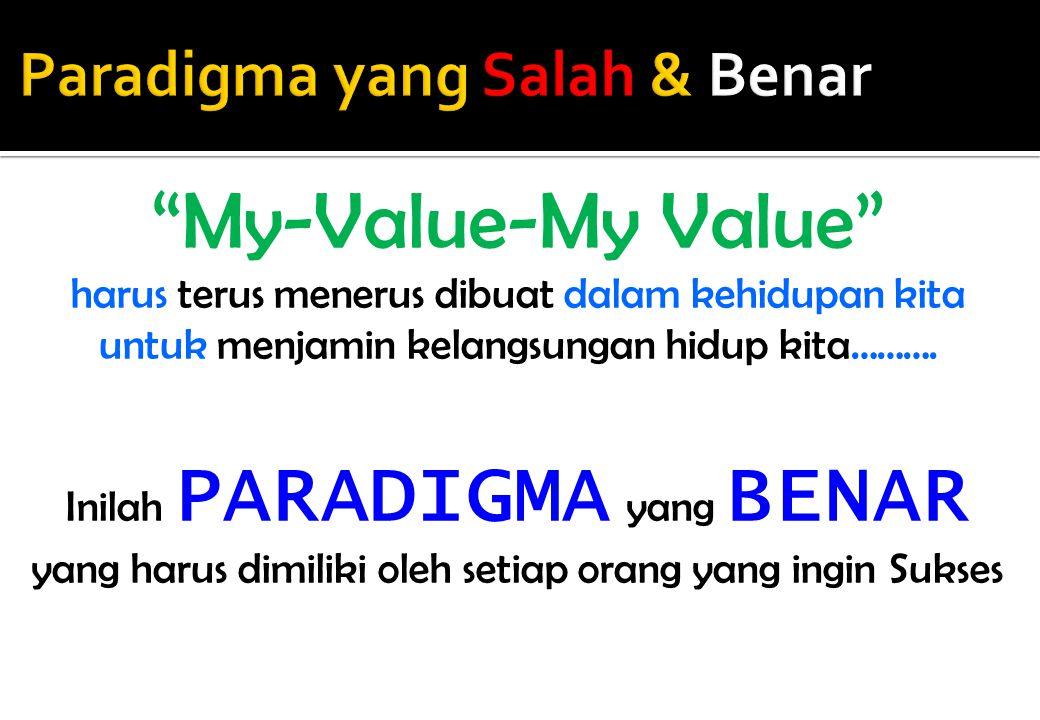 """My-Value-My Value"" harus terus menerus dibuat dalam kehidupan kita untuk menjamin kelangsungan hidup kita………. Inilah PARADIGMA yang BENAR yang harus"