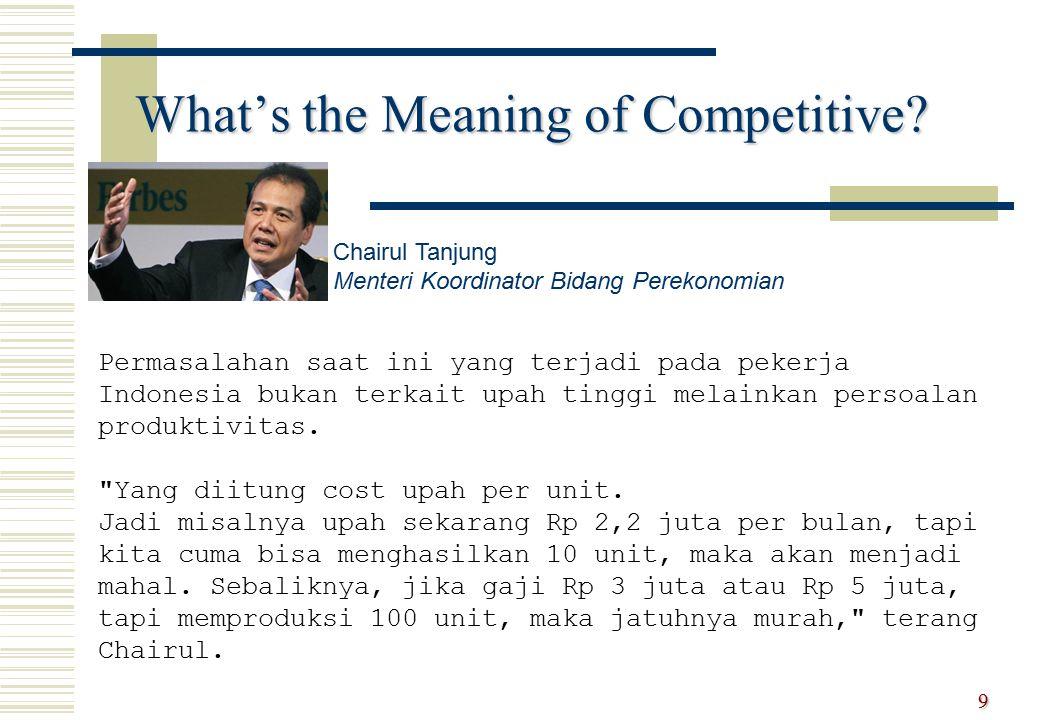 What's the Meaning of Competitive? 9 Permasalahan saat ini yang terjadi pada pekerja Indonesia bukan terkait upah tinggi melainkan persoalan produktiv