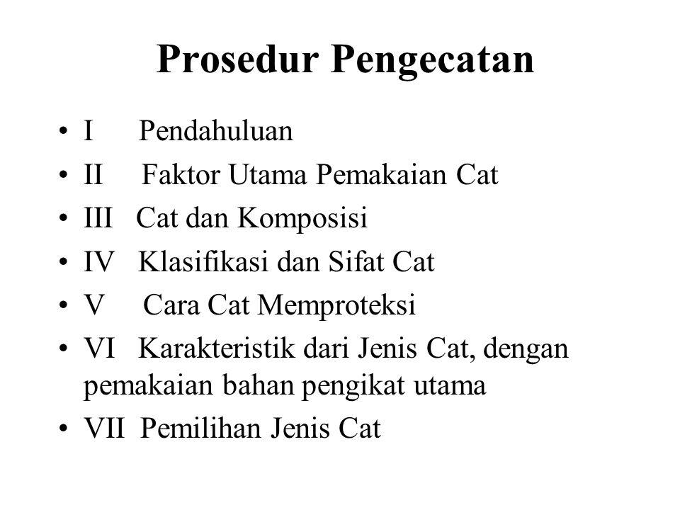 Prosedur Pengecatan I Pendahuluan II Faktor Utama Pemakaian Cat III Cat dan Komposisi IV Klasifikasi dan Sifat Cat V Cara Cat Memproteksi VI Karakteristik dari Jenis Cat, dengan pemakaian bahan pengikat utama VII Pemilihan Jenis Cat