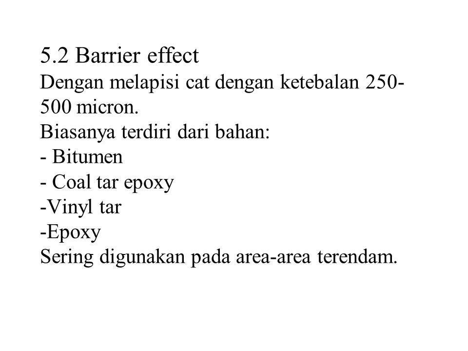 5.2 Barrier effect Dengan melapisi cat dengan ketebalan 250- 500 micron.