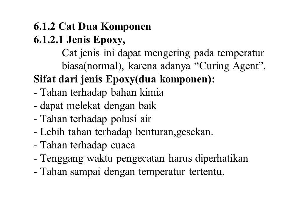 6.1.2 Cat Dua Komponen 6.1.2.1 Jenis Epoxy, Cat jenis ini dapat mengering pada temperatur biasa(normal), karena adanya Curing Agent .