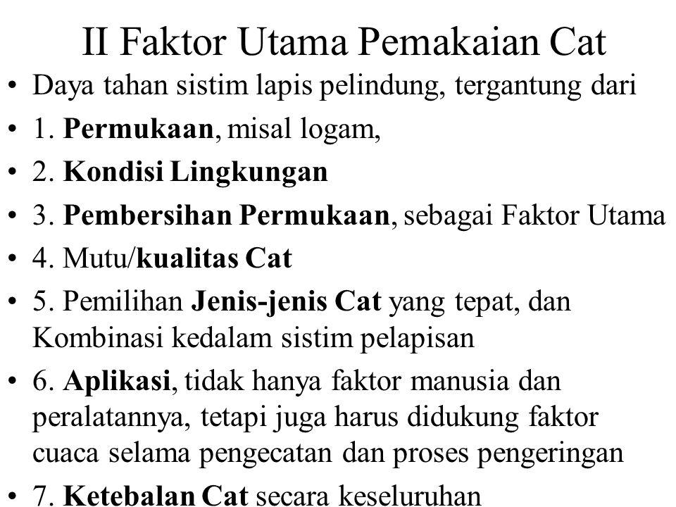 II Faktor Utama Pemakaian Cat Daya tahan sistim lapis pelindung, tergantung dari 1.