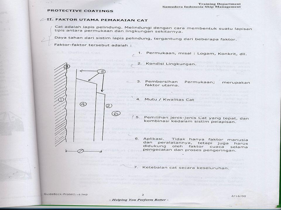 9.3 Proses Pembersihan Untuk membersihkan struktural logam,pembersihan permukaan dilakukan dengan cara mekanis-abrasive blasting, dan dengan alat bantu sederhana adalah yang umum dilaksanakan.Pembersihan adalah mutlak,dan dilakukan dengan beberapa tahapan, sebagai berikut: 9.3.1 Pencucian Untuk menghilangkan kontaminasi minyak dan gemuk yang paling efektif adalah dengan menggunakan bahan pencuci.(diseka dengan bahan solvent) kemudian dibilas dengan menggunakan air tawar.