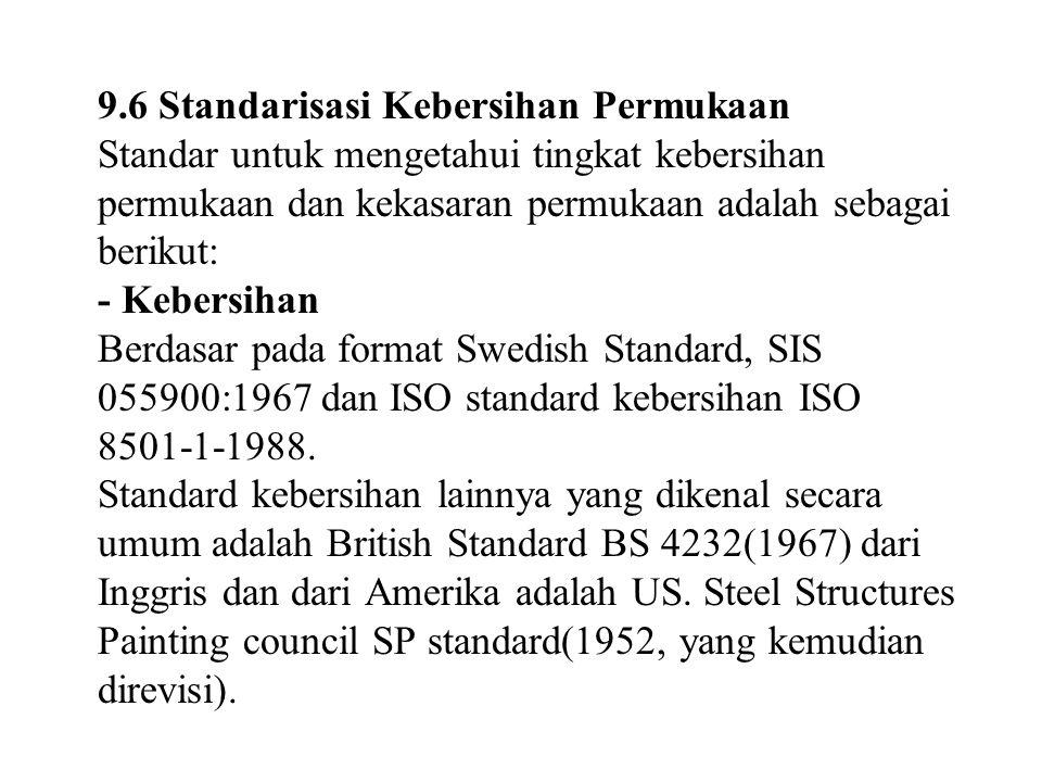 9.6 Standarisasi Kebersihan Permukaan Standar untuk mengetahui tingkat kebersihan permukaan dan kekasaran permukaan adalah sebagai berikut: - Kebersihan Berdasar pada format Swedish Standard, SIS 055900:1967 dan ISO standard kebersihan ISO 8501-1-1988.