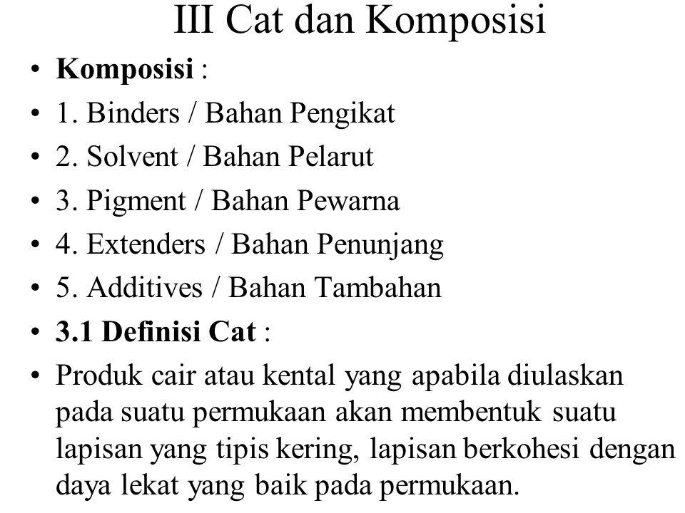 3.2 Komposisi Cat adalah suatu bahan cairan/bahan kental Terdiri dari : 1.