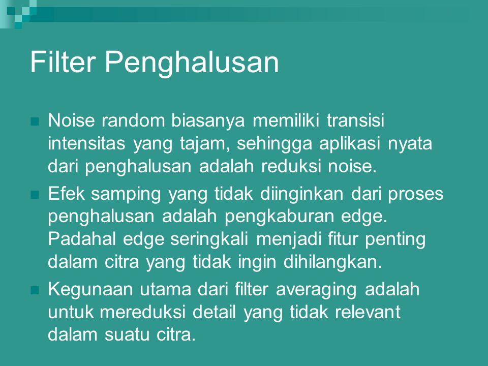 Filter Penghalusan Noise random biasanya memiliki transisi intensitas yang tajam, sehingga aplikasi nyata dari penghalusan adalah reduksi noise. Efek