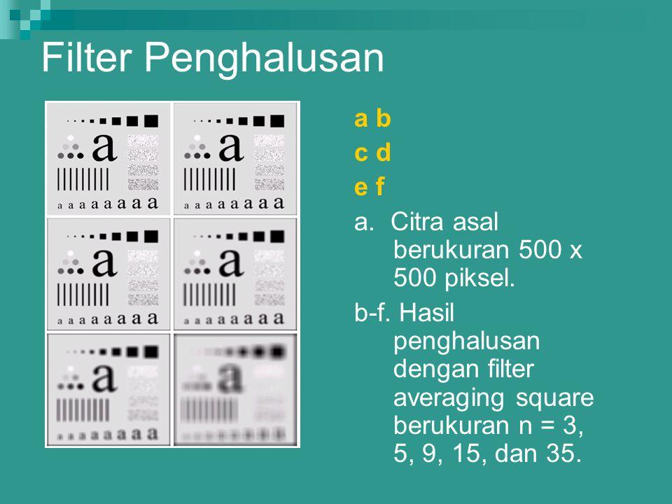 Filter Penghalusan a b c d e f a. Citra asal berukuran 500 x 500 piksel. b-f. Hasil penghalusan dengan filter averaging square berukuran n = 3, 5, 9,