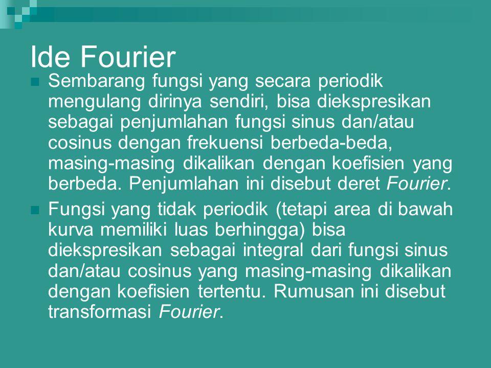 Ide Fourier Sembarang fungsi yang secara periodik mengulang dirinya sendiri, bisa diekspresikan sebagai penjumlahan fungsi sinus dan/atau cosinus deng