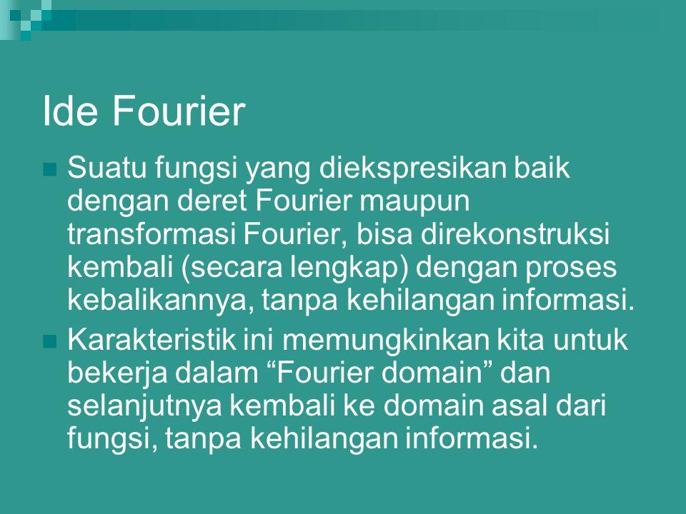 Ide Fourier Suatu fungsi yang diekspresikan baik dengan deret Fourier maupun transformasi Fourier, bisa direkonstruksi kembali (secara lengkap) dengan