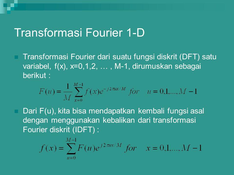Transformasi Fourier 1-D Transformasi Fourier dari suatu fungsi diskrit (DFT) satu variabel, f(x), x=0,1,2, …, M-1, dirumuskan sebagai berikut : Dari