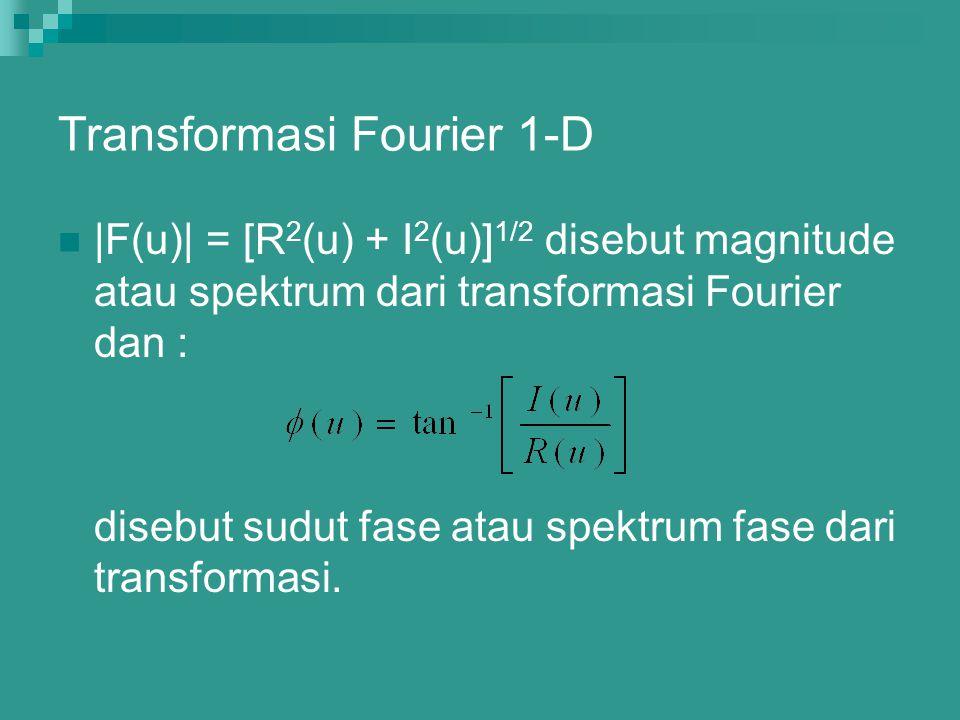 Transformasi Fourier 1-D |F(u)| = [R 2 (u) + I 2 (u)] 1/2 disebut magnitude atau spektrum dari transformasi Fourier dan : disebut sudut fase atau spek