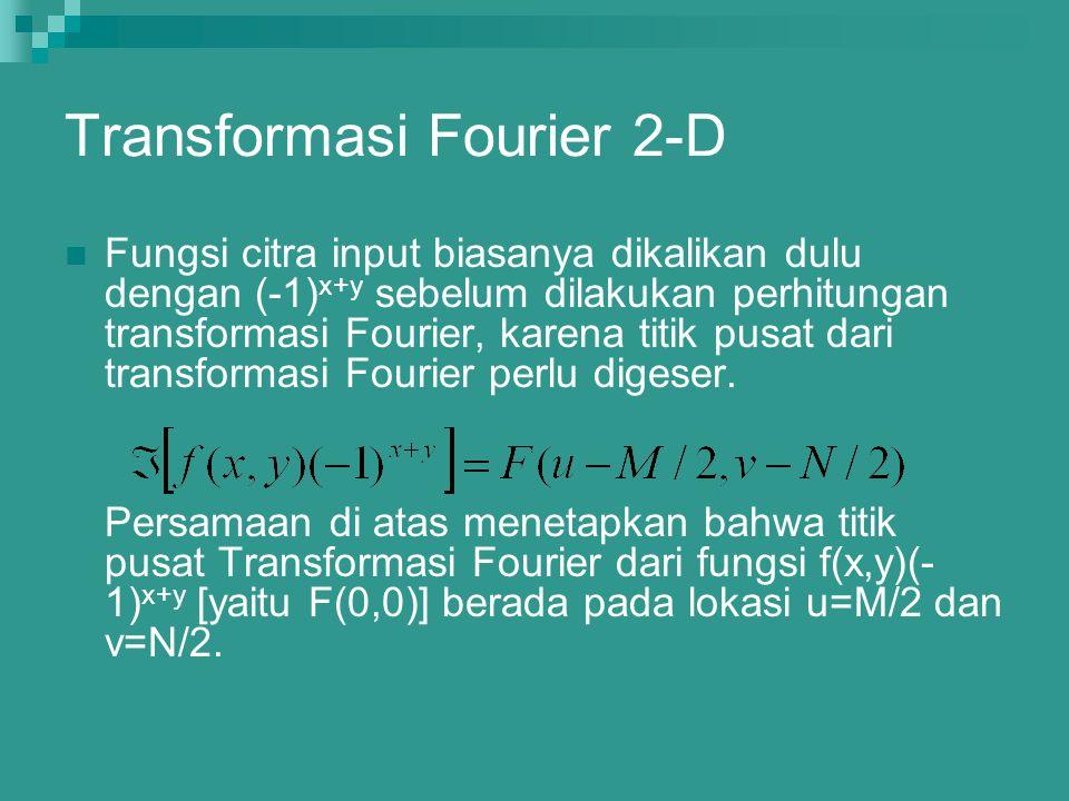 Transformasi Fourier 2-D Fungsi citra input biasanya dikalikan dulu dengan (-1) x+y sebelum dilakukan perhitungan transformasi Fourier, karena titik p
