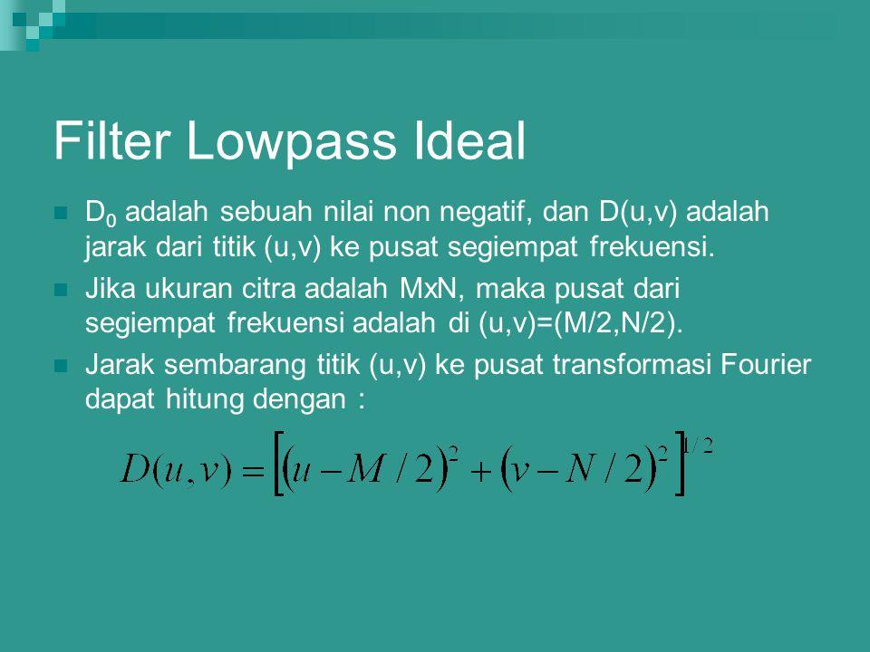 Filter Lowpass Ideal D 0 adalah sebuah nilai non negatif, dan D(u,v) adalah jarak dari titik (u,v) ke pusat segiempat frekuensi. Jika ukuran citra ada