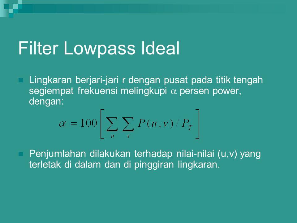 Filter Lowpass Ideal Lingkaran berjari-jari r dengan pusat pada titik tengah segiempat frekuensi melingkupi  persen power, dengan: Penjumlahan dilaku