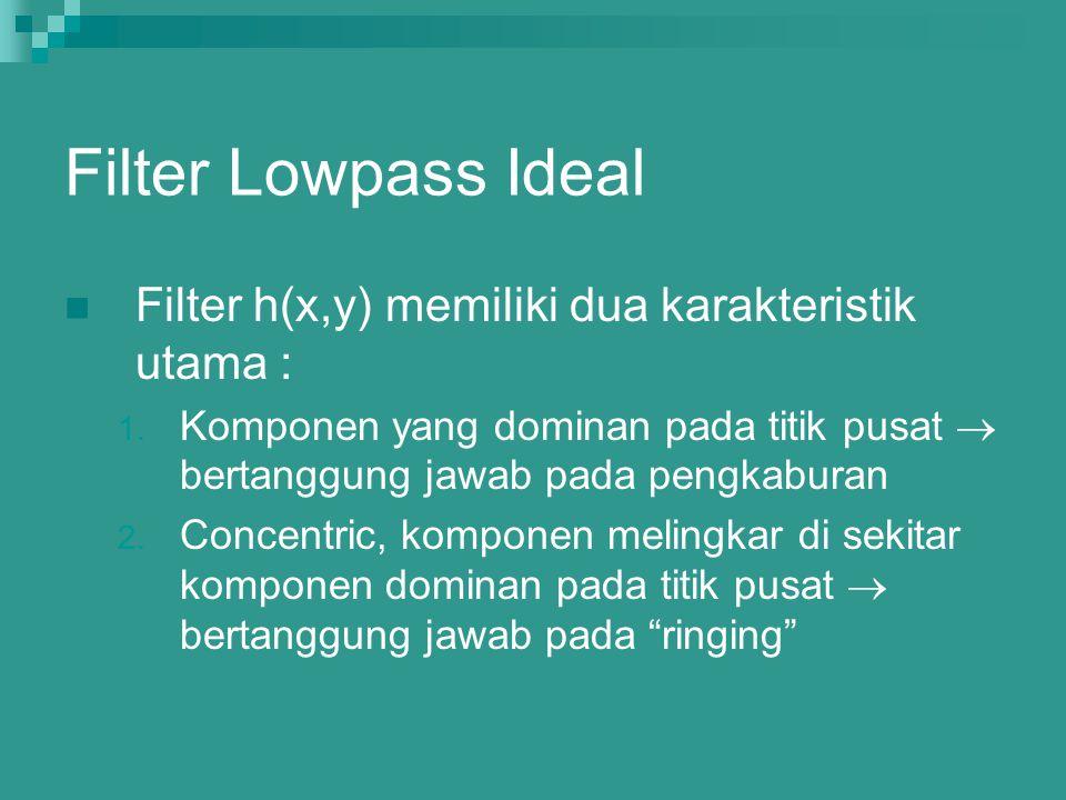 Filter Lowpass Ideal Filter h(x,y) memiliki dua karakteristik utama : 1. Komponen yang dominan pada titik pusat  bertanggung jawab pada pengkaburan 2