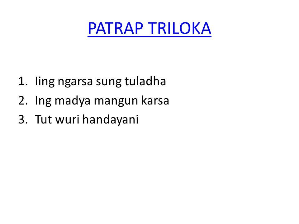 PATRAP TRILOKA 1.Iing ngarsa sung tuladha 2.Ing madya mangun karsa 3.Tut wuri handayani