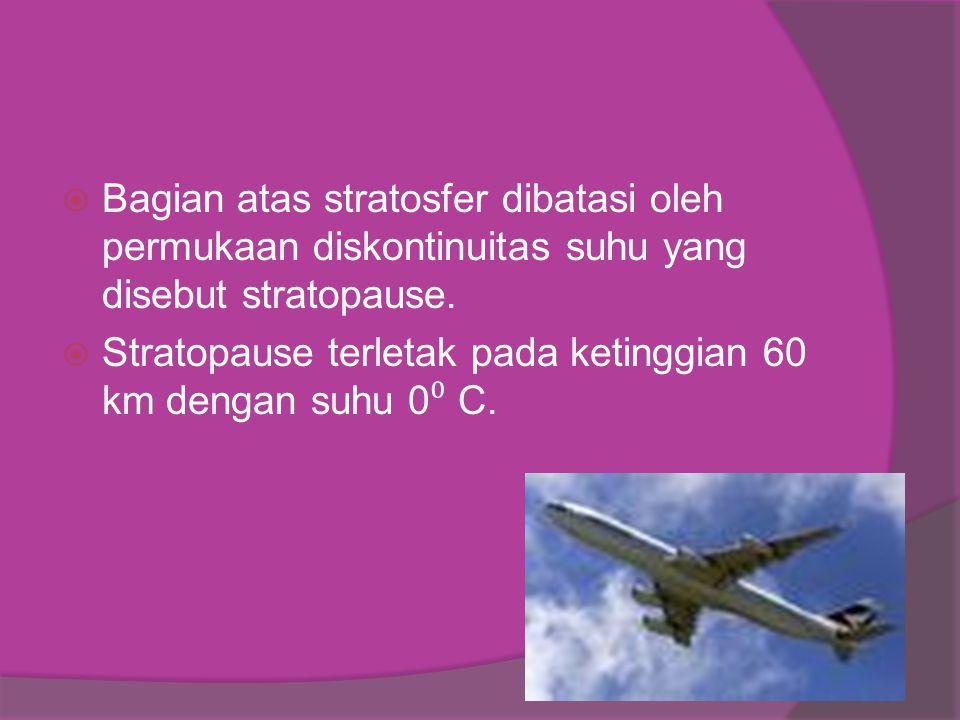  Bagian atas stratosfer dibatasi oleh permukaan diskontinuitas suhu yang disebut stratopause.  Stratopause terletak pada ketinggian 60 km dengan suh
