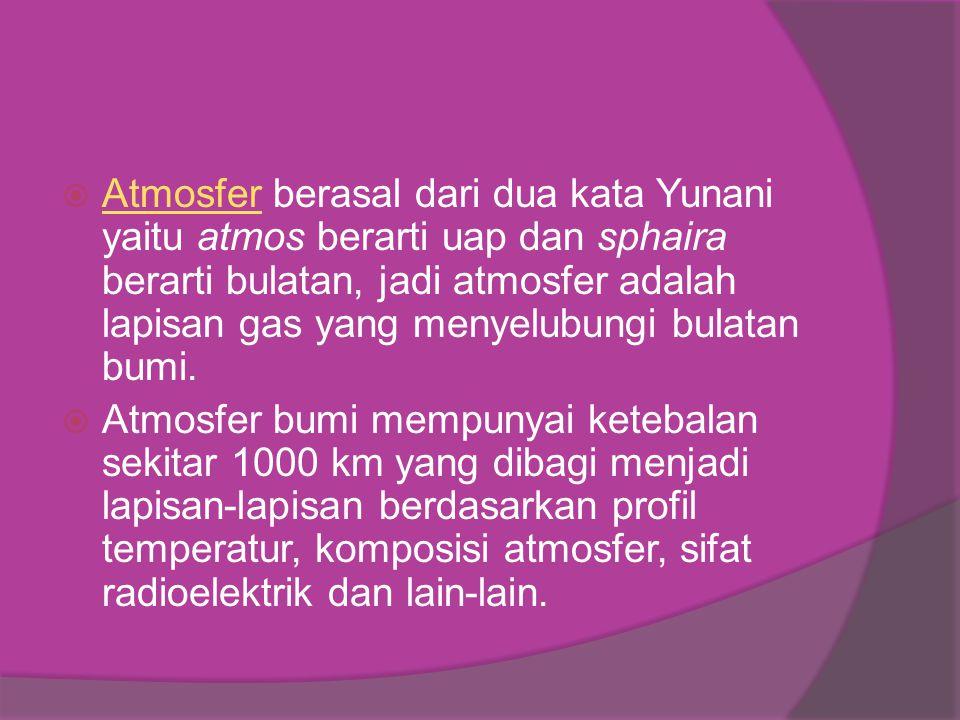  Atmosfer berasal dari dua kata Yunani yaitu atmos berarti uap dan sphaira berarti bulatan, jadi atmosfer adalah lapisan gas yang menyelubungi bulata