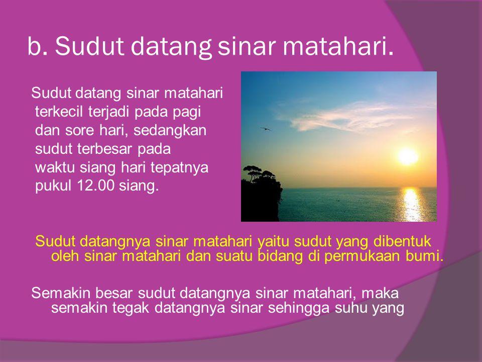 b. Sudut datang sinar matahari. Sudut datang sinar matahari terkecil terjadi pada pagi dan sore hari, sedangkan sudut terbesar pada waktu siang hari t