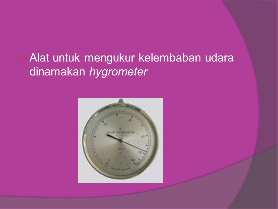  Alat untuk mengukur kelembaban udara dinamakan hygrometer