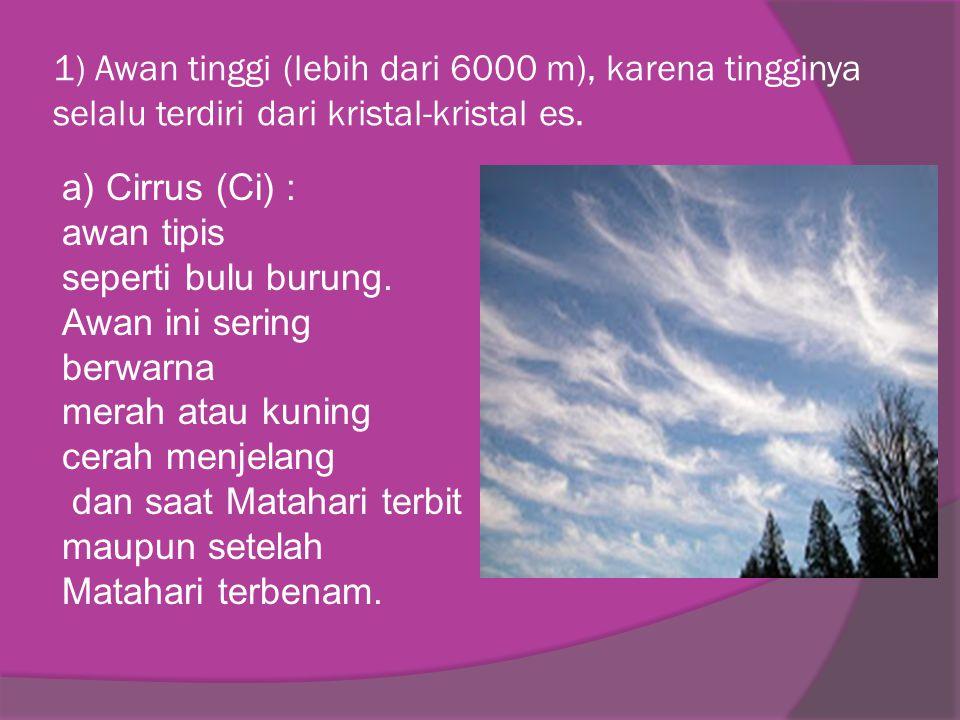 1) Awan tinggi (lebih dari 6000 m), karena tingginya selalu terdiri dari kristal-kristal es. a) Cirrus (Ci) : awan tipis seperti bulu burung. Awan ini