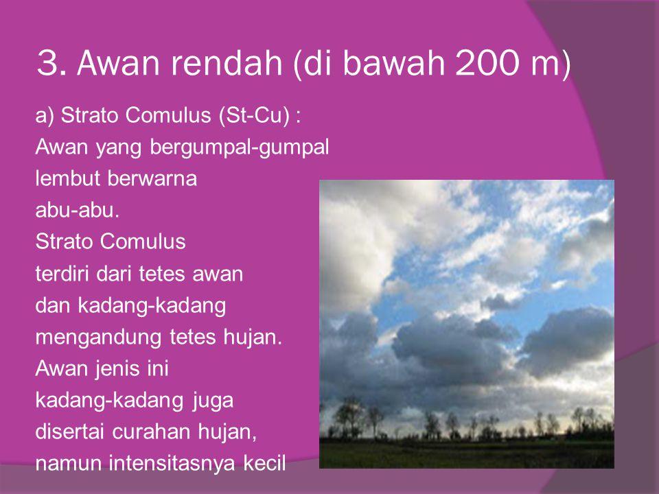 3. Awan rendah (di bawah 200 m) a) Strato Comulus (St-Cu) : Awan yang bergumpal-gumpal lembut berwarna abu-abu. Strato Comulus terdiri dari tetes awan