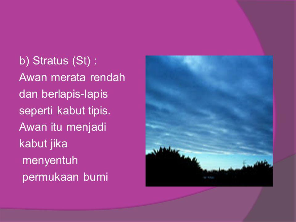 b) Stratus (St) : Awan merata rendah dan berlapis-lapis seperti kabut tipis. Awan itu menjadi kabut jika menyentuh permukaan bumi.