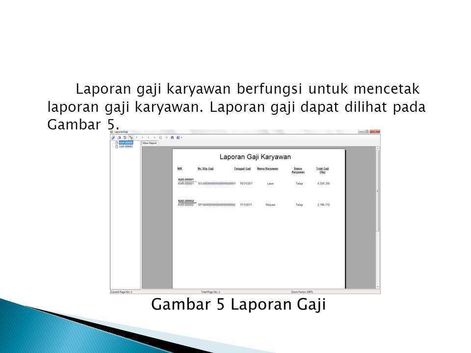 Laporan gaji karyawan berfungsi untuk mencetak laporan gaji karyawan.