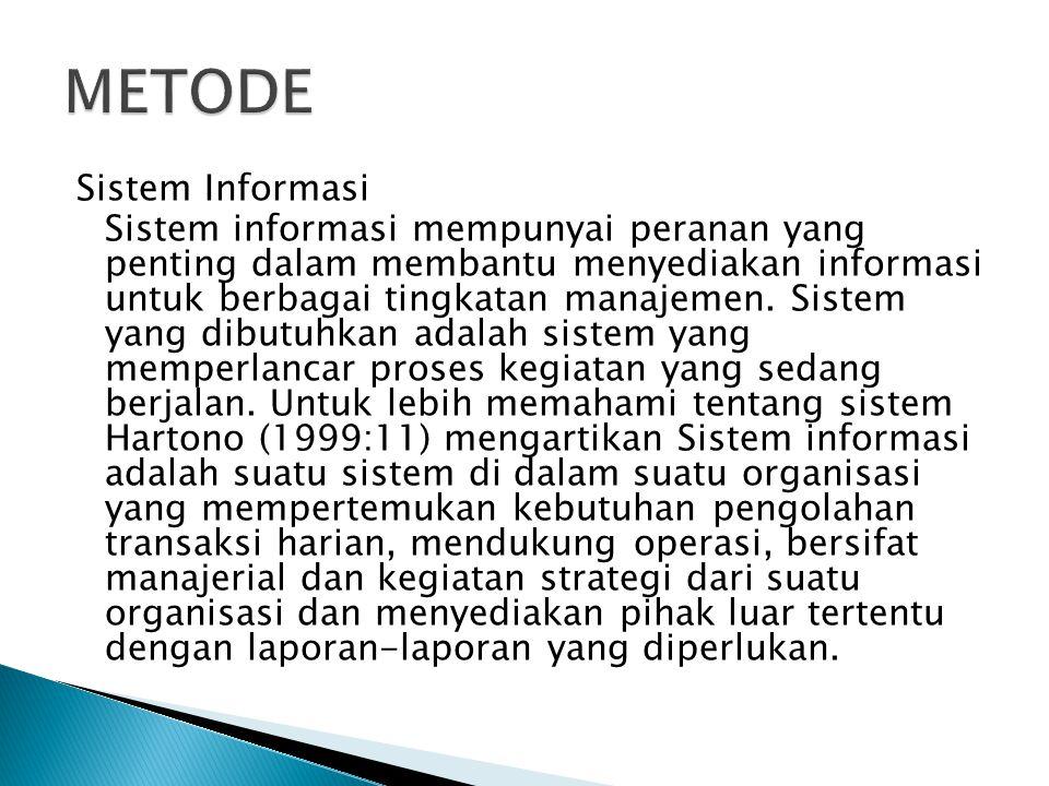Sistem Informasi Sistem informasi mempunyai peranan yang penting dalam membantu menyediakan informasi untuk berbagai tingkatan manajemen.