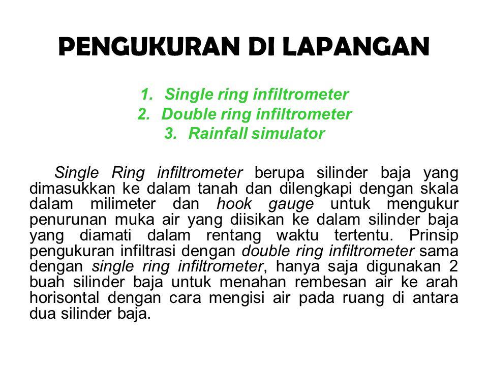 PENGUKURAN DI LAPANGAN 1.Single ring infiltrometer 2.Double ring infiltrometer 3.Rainfall simulator Single Ring infiltrometer berupa silinder baja yan