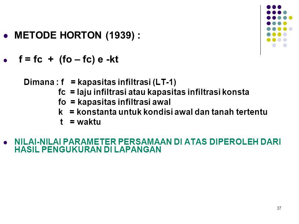 37 METODE HORTON (1939) : f = fc + (fo – fc) e -kt Dimana : f = kapasitas infiltrasi (LT-1) fc = laju infiltrasi atau kapasitas infiltrasi konsta fo =