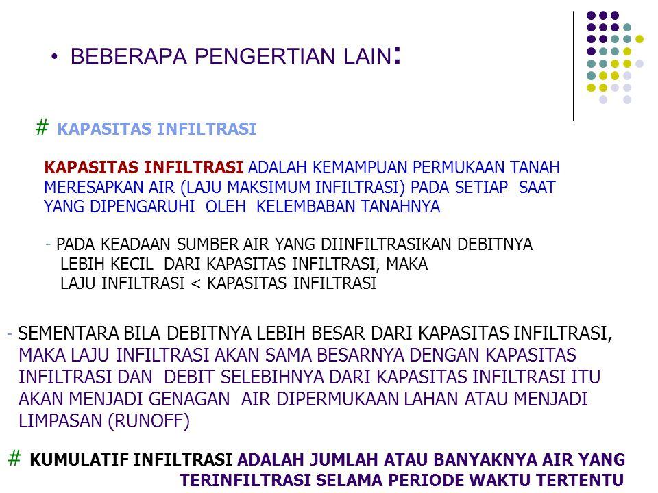 9 BEBERAPA PENGERTIAN LAIN : # KAPASITAS INFILTRASI KAPASITAS INFILTRASI ADALAH KEMAMPUAN PERMUKAAN TANAH MERESAPKAN AIR (LAJU MAKSIMUM INFILTRASI) PA