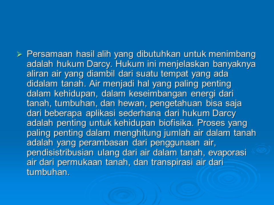  Persamaan hasil alih yang dibutuhkan untuk menimbang adalah hukum Darcy. Hukum ini menjelaskan banyaknya aliran air yang diambil dari suatu tempat y