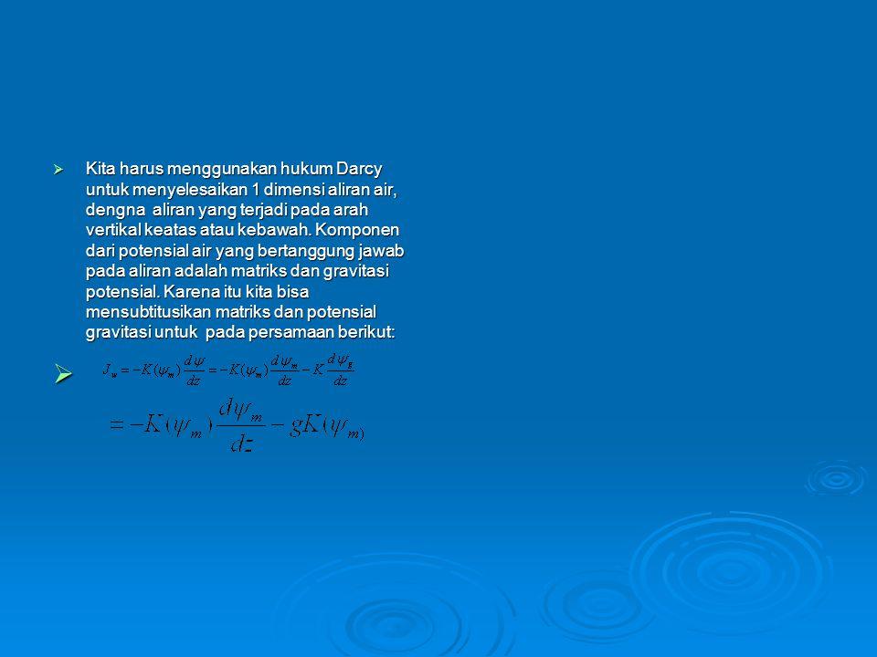  Kita harus menggunakan hukum Darcy untuk menyelesaikan 1 dimensi aliran air, dengna aliran yang terjadi pada arah vertikal keatas atau kebawah. Komp