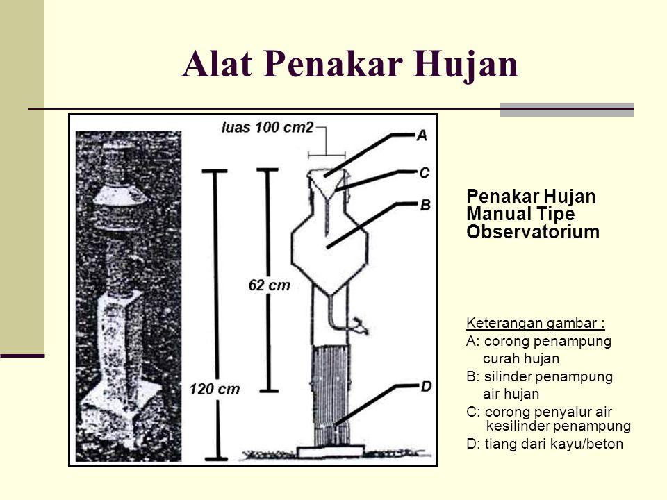 Alat Penakar Hujan Penakar Hujan Manual Tipe Observatorium Keterangan gambar : A: corong penampung curah hujan B: silinder penampung air hujan C: coro