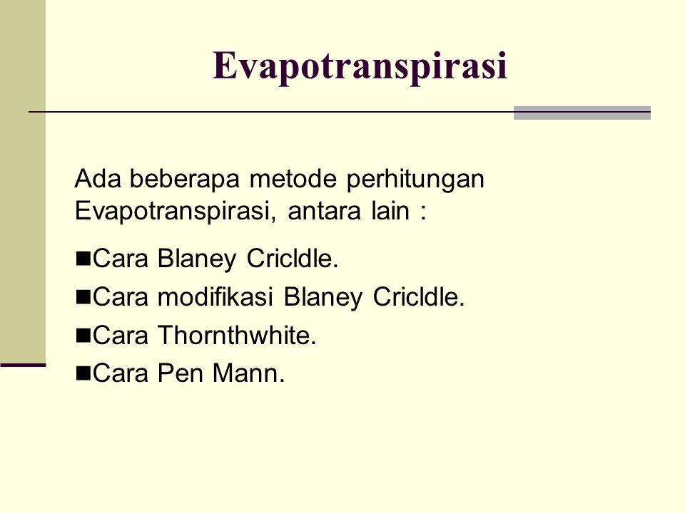 Evapotranspirasi Ada beberapa metode perhitungan Evapotranspirasi, antara lain : Cara Blaney Cricldle. Cara modifikasi Blaney Cricldle. Cara Thornthwh