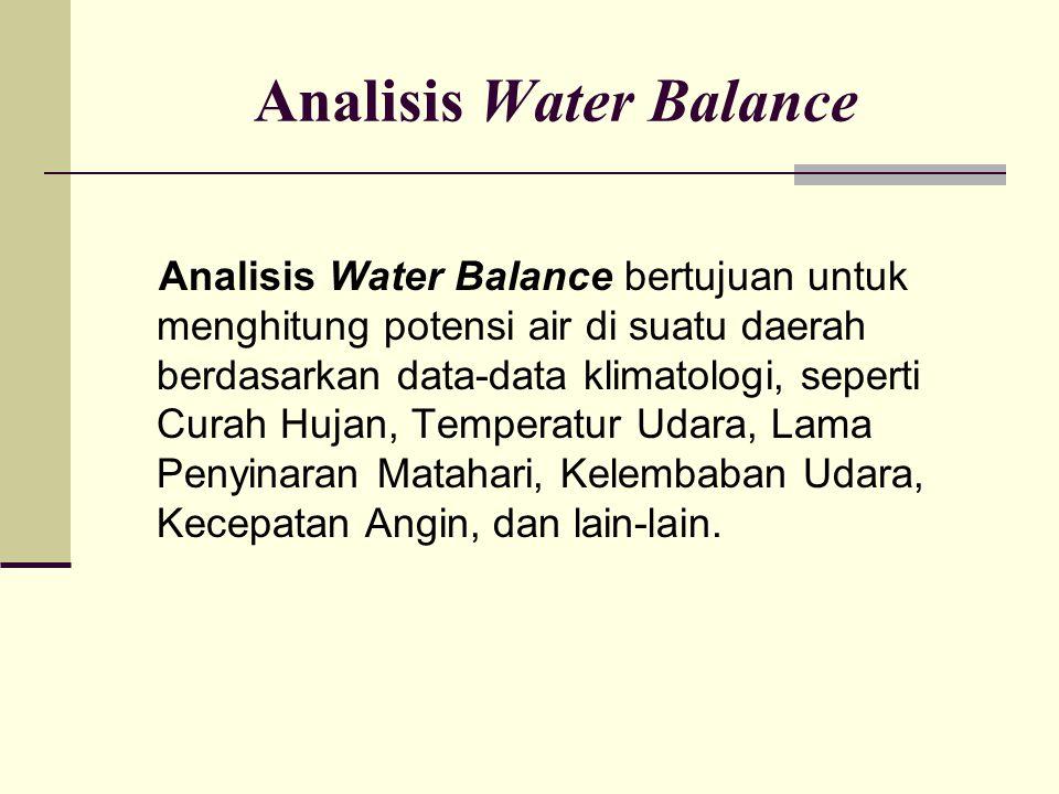 Analisis Water Balance Analisis Water Balance bertujuan untuk menghitung potensi air di suatu daerah berdasarkan data-data klimatologi, seperti Curah