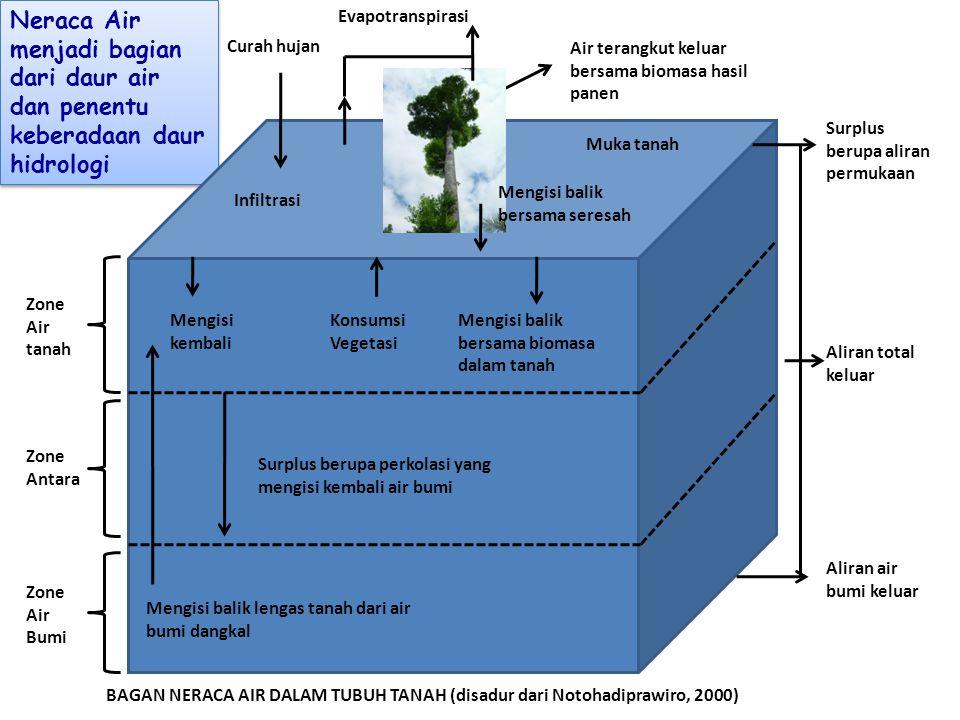 Neraca Air menjadi bagian dari daur air dan penentu keberadaan daur hidrologi Infiltrasi Evapotranspirasi Muka tanah Air terangkut keluar bersama biom